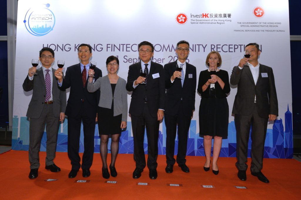 The Secretary for Financial Services and the Treasury, Professor K C Chan; the Acting Director-General of Investment Promotion, Mr Francis Ho, and other guests of honour officiate at the launch of Hong Kong FinTech Week