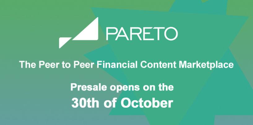 Pareto The Peer To Peer Financial Content Marketplace Announces Token Sale