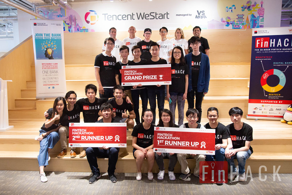 Executives from Societe Generale, WHub, judges and top 3 winning teams at FinHACK2018