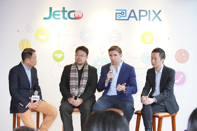 Officiating guests share their views about open API at JETCO's press conference