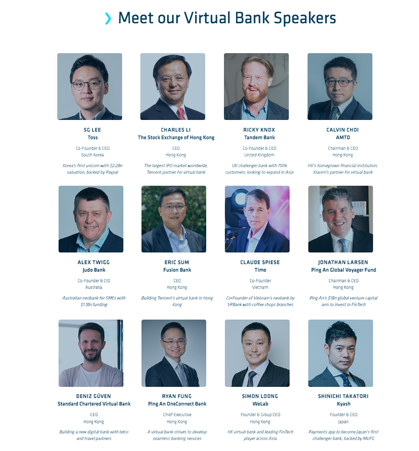 Hong Kong fintech Week 2019 Virtual bank Speakers